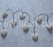 battery heart fairy lights,10L warm white Led