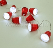 Battery Cup Fairy Lights.10 White LED. Clear PVC Cable