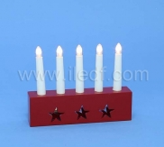Indoor Red Plastic Led Candlestick   5 Warm White LEDs