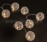 Indoor Battery Metal Hollow Ball Fairy Light   10 Warm White LEDs