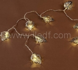 IP20 Indoor Metal Leaves Fairy Light For Christmas  10 Warm White LEDs