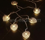 Indoor battery Metal Heart Fairy Light For Chirstmas