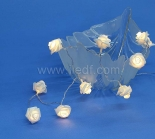Battery Rose Fairy Lights. 10Warm White LEDs. Clear Cable