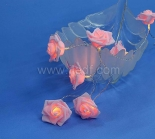 Battery Rose Fairy Lights,10 Warm White LED. Clear Cable
