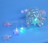 Battery Acrylic Star Fairy Lights.10 Warm White LED. PVC Cable