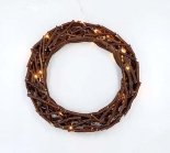 LED 50CM Wooden Wreath For Christmas With Warm LEDS