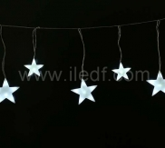 Outdoor Christmas Star Icicle Lights, Warm White LEDs