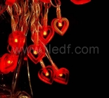 Battery Acrylic Heart Fairy Lights With Red/White LEDs
