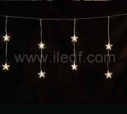 Outdoor Christmas Star Curtain Lights   Warm White LEDs