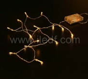 Indoor Battery LED String, Clear PVC Cable, Warm White LEDs
