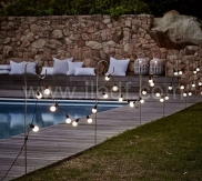 Φ4cm White/Clear Cup Festoon Lights 20L Warm-white/White LEDs Connectable