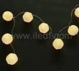 Battery Rattan Ball Fairy Lights,10 Warm White LED. Clear Cable