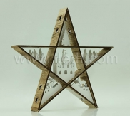 LED Battery wood Star