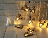 Battery Deer Head Fairy Lights. 10Warm White LEDs. Clear Cable
