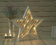 LED Battery Wood Star copper wire light